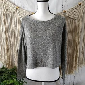 Zara Trafaluc Gray Flecked Knit Sweater Small